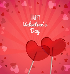Lollipops heart shaped Valentines Day vector image vector image