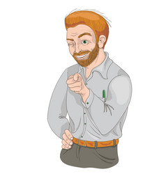 man with squinty eye pointing finger and smiling vector image vector image