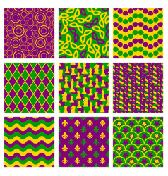 set of seamless patterns for mardi gras vector image
