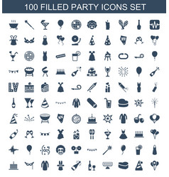 100 party icons vector image