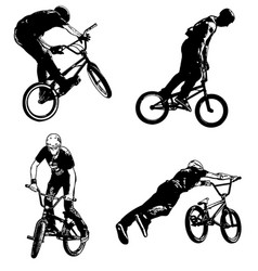4 high quality bmx cyclist vector image
