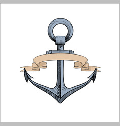 anchor with ribbons on white vector image