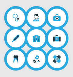 antibiotic icons colored set with thermometer vector image