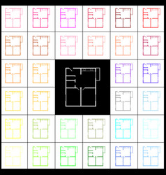 Apartment house floor plans felt-pen 33 vector