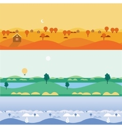 Background seamless landscapes autumn summer vector image