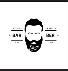 barber shop logo hipster emblem vector image