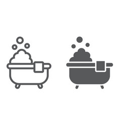bath line and glyph icon real estate vector image