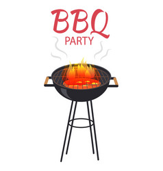 Bbq party food and fire poster vector