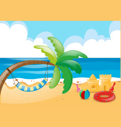 Beach scene with hammock on tree vector