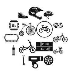 biking icons set simple style vector image