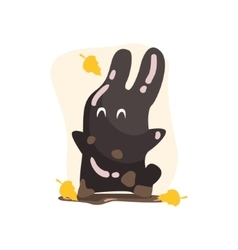 Black Tar Jelly Rabbit Shape Monster Smiling Under vector