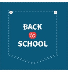 Blue denim jeans pocket dash line back to school vector