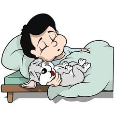 Boy and Dog Sleeping vector