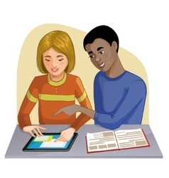 Boy and girl working on digital tablet vector image