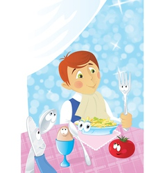 boys dinner time vector image