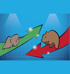 Bull and bear with financial graph vector