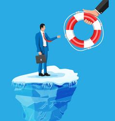 Businessman floats on iceberg getting lifebuoy vector