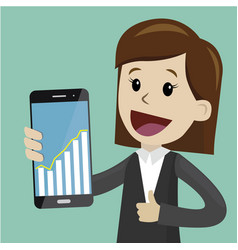 Businesswoman hold a smartphone with chart graphs vector