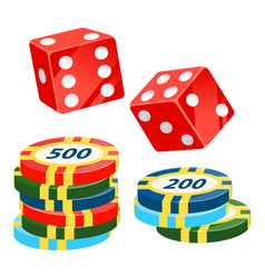 Casino chips and dice playing cubes with dots vector