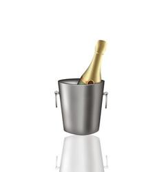Champagne bottle in metal bucket vector