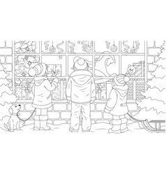 children look at window a christmas gift vector image