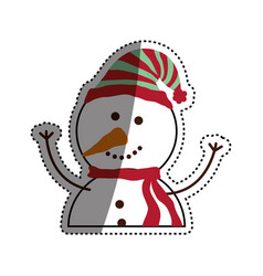 christmas snowman cartoon vector image