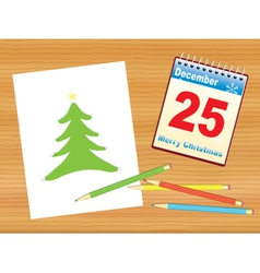 Christmas tree drawing on table vector image