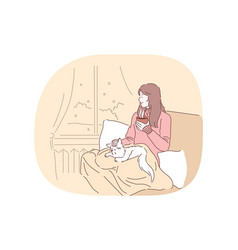 Comfort rest cozy relaxation with cat and hot vector