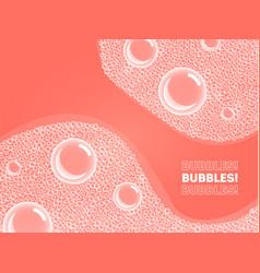 Coral color shampoo soap bubbles in bath or sud vector