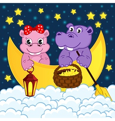 couple hippos float on moon in clouds vector image