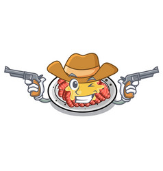 Cowboy carpaccio is served on cartoon plates vector