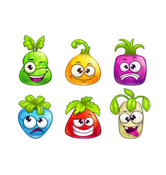 Cute comic colorful fruit characters on white vector