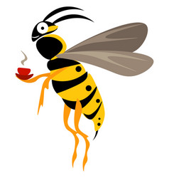Cute little wasp holding a steaming cup coffee vector