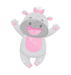 cute smiling hippo with a pink bow having fun vector image