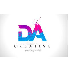 Da d a letter logo with shattered broken blue vector