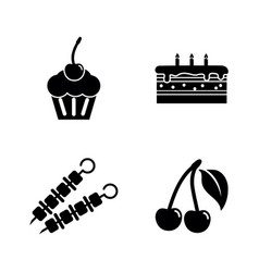 delicacy tasty food simple related icons vector image