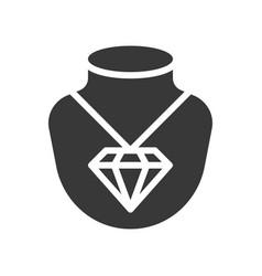diamond necklace pendant jewelry icon glyph style vector image