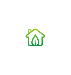 eco house green leaf logo vector image