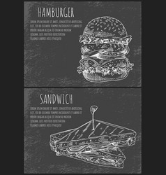 Fast food sketches of hamburger and sandwich vector