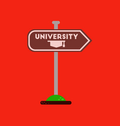 Flat icon on background university sign vector