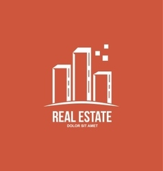 Flat real estate red skyscraper building logo vector