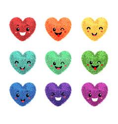 Fluffy pom-poms in shape a heart vector