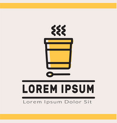 Food logotype with disposable bowl vector