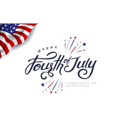 fourth july calligraphy vector image