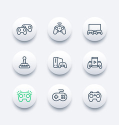 gamepads icons set in line style vector image