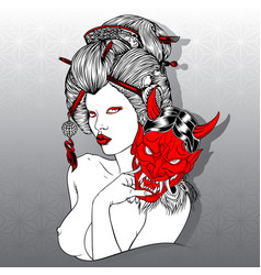 geisha devil mask red girl beautiful japan vector image