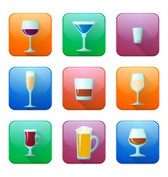 glossy alcohol glasses icons set vector image