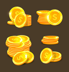 Gold coins icons golden coins stacks and vector