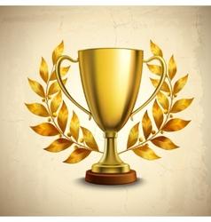 Golden trophy emblem vector image