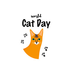 Greeting card with text world cat day portrait vector